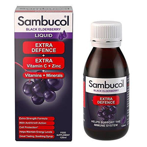 Sambucol Natural Black Elderberry Extra Defence | Vitamin C, B6 & D | Zinc | Folic Acid & Minerals | Immune Support Supplement | 120ml