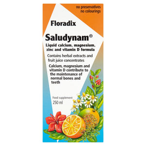 Floradix Saludynam Liquid Calcium, Magnesium, Zinc and Vitamin D Formula 250ml