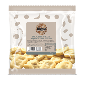 Biona Organic Yoghurt White Chocolate Banana Chips 70g