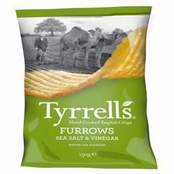 Tyrrells Furrows Sea Salt & Vinegar Hand Cooked English Crisps 150g