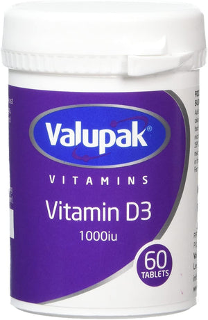 Valupak Vitamin D 1000iu Tablets - Pack of 60 Tablets