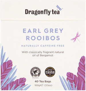 Dragonfly Tea Earl Grey Rooibos Naturally Caffeine Free Tea 40 Teabags