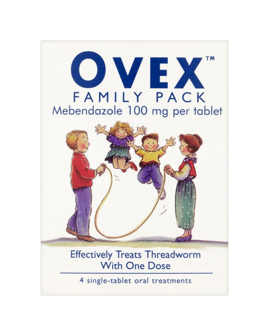 Ovex Family Pack Contains 4 Single-Tablet Treatments for Threadworms