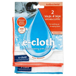 E-Cloth Antibacterial 2 Wash & Wipe Kitchen Cloths