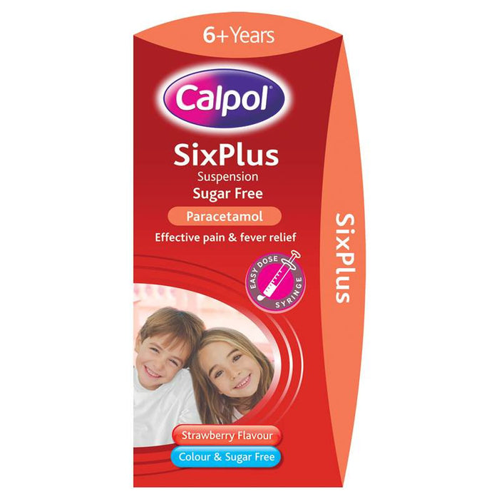 Calpol SixPlus Suspension Sugar Free Strawberry Flavour 6+ Years 80ml