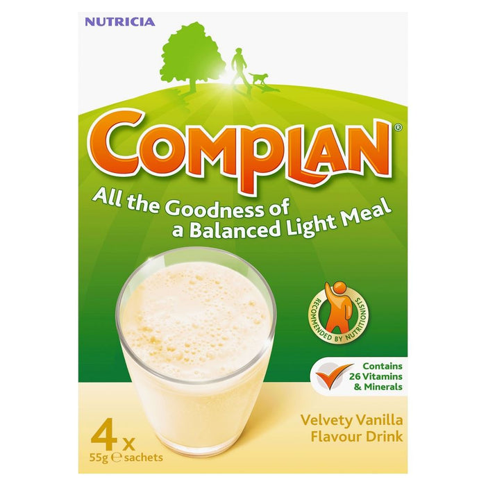 Complan, Nutritional Drink, Powder, Vanilla, 4 x 55g