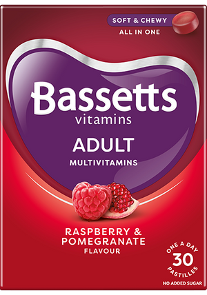 Bassett's Adult Multivitamins Raspberry & Pomegranate Flavour | 30 Pastilles