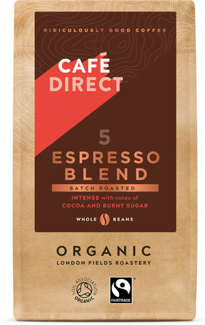 Cafedirect Espresso Blend Organic and Fairtrade Whole Coffee Beans, 227 g
