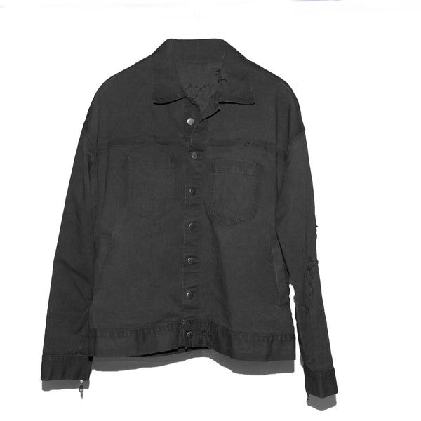 Black Distressed Denim Trucker Jacket
