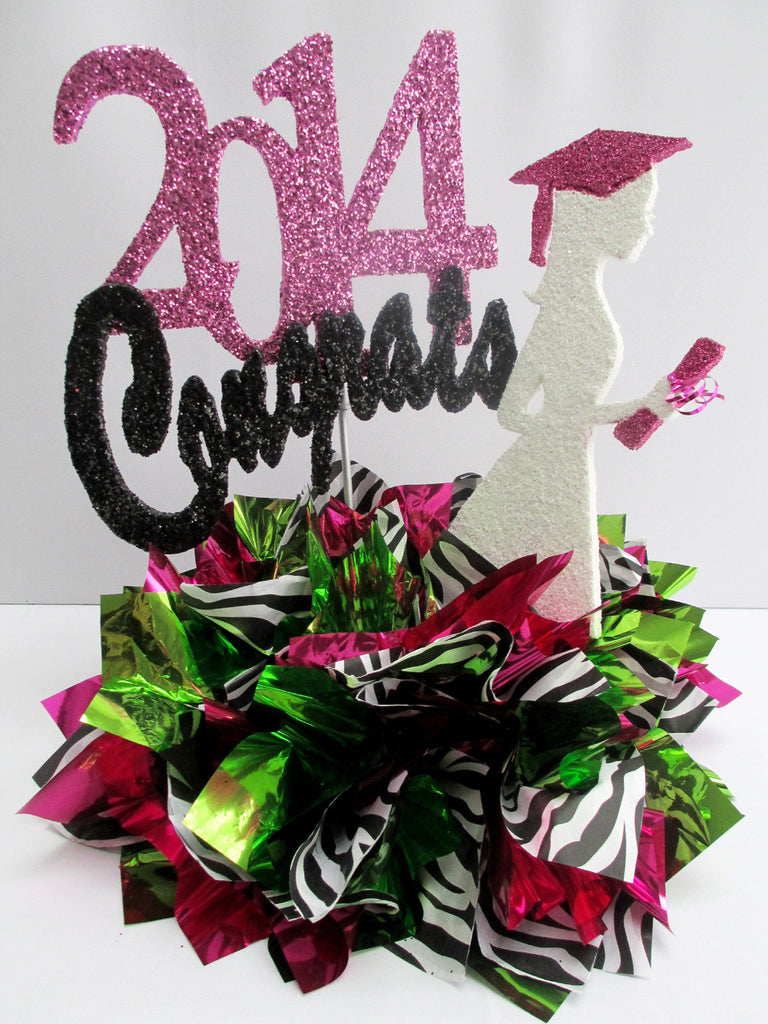 2014 graduation centerpieces- zebra stripes, fuchsia and lime green