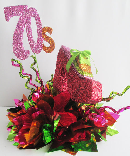 Fun colorful 70's themed party table centerpieces