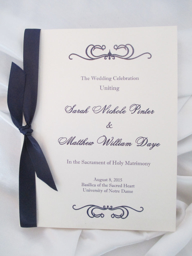 Booklet Style Wedding Program - Basilica and Holy Spirit Chapel, St. Mary's, Notre Dame, IN