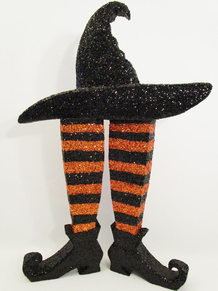 Last minute Halloween Centerpiece Witch's Boots & Hat
