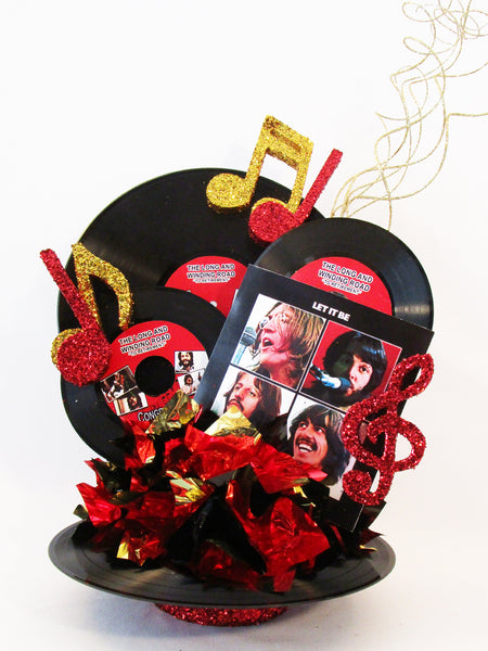 Colorful Beatles themed centerpieces