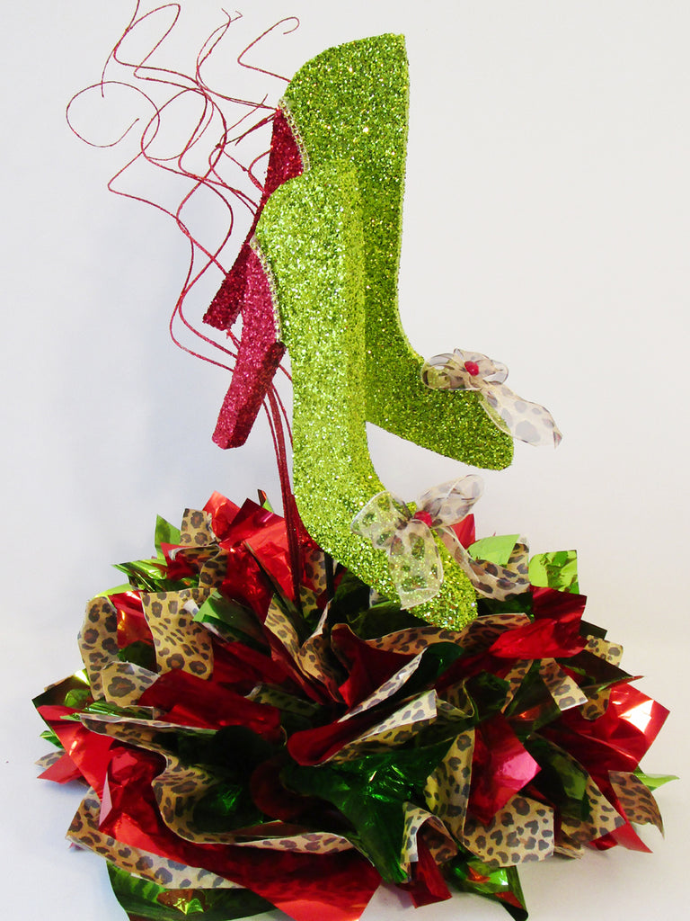 Red, Lime Green & Leopard Shoe Centerpiece