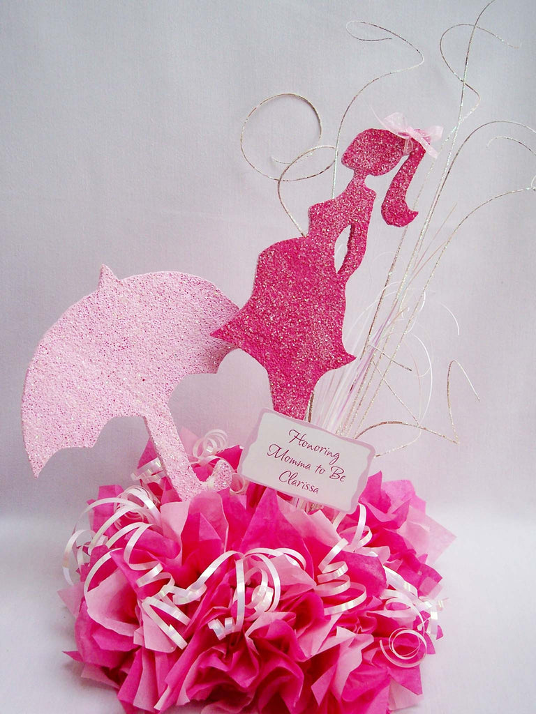 Baby Shower Centerpiece-preganant woman silhouette