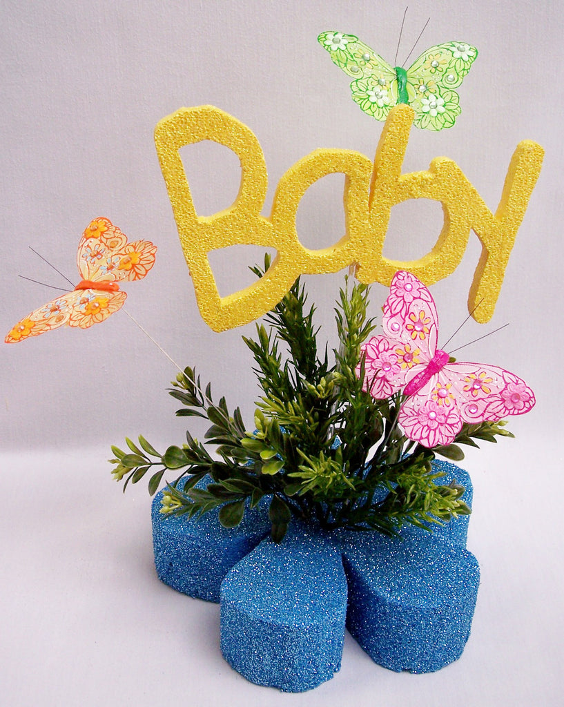 Colorful baby shower centerpiece with butterflies