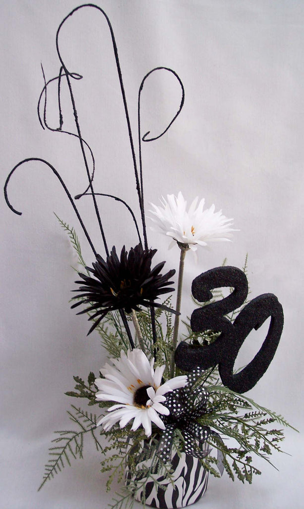 30th birthday, black and white centerpiece