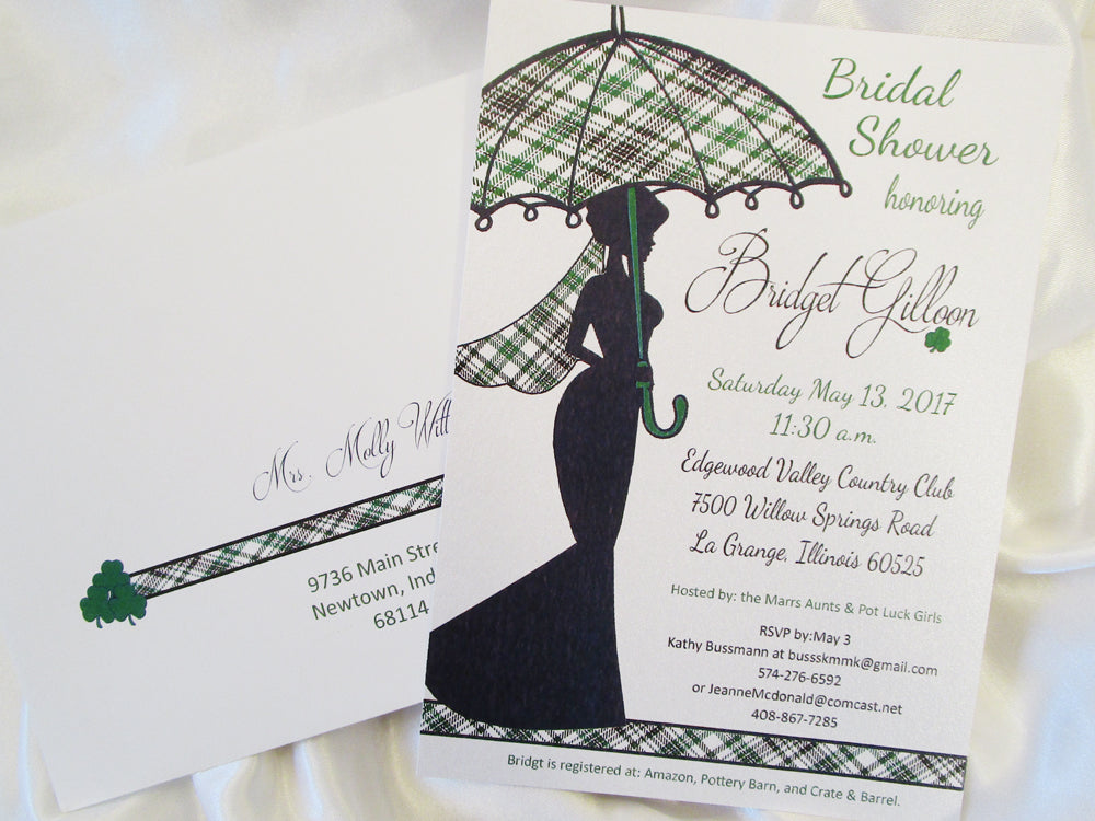 Tartan Plaid Bridal Shower Invite & Centerpiece