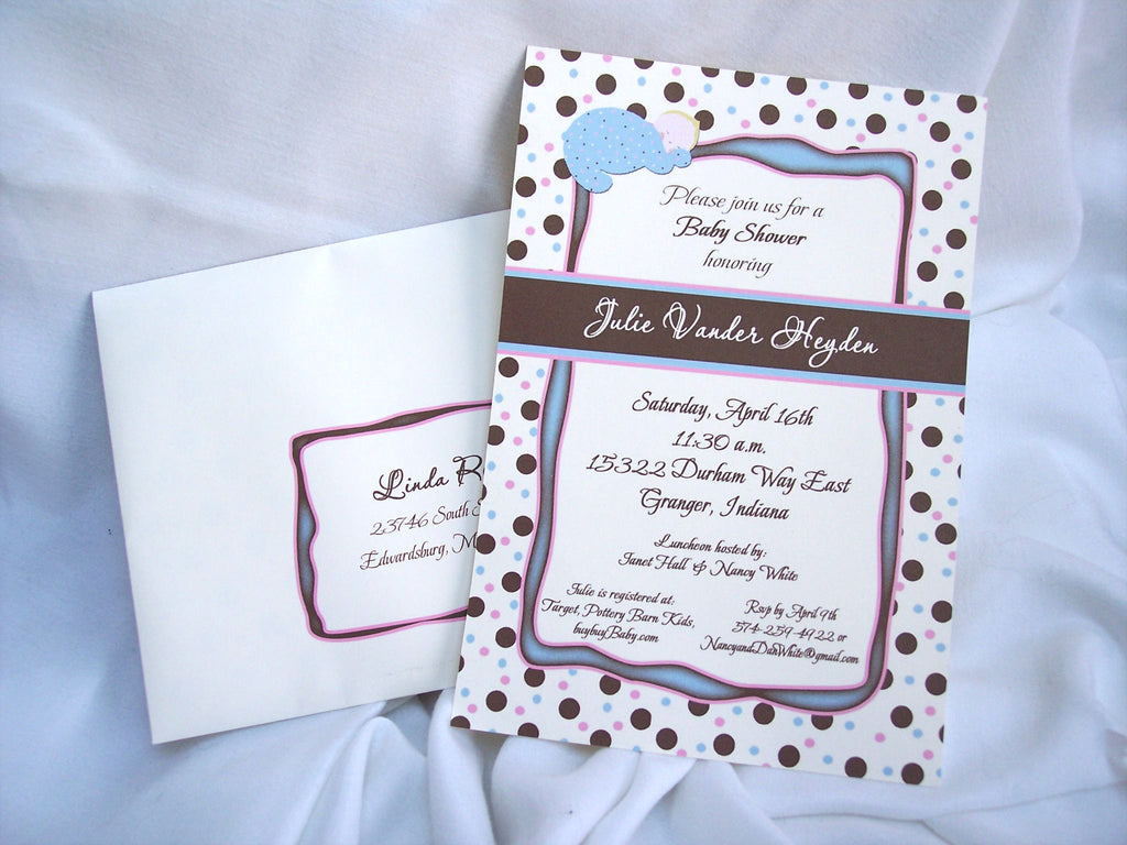 Baby shower invite-blue,brown & pink dots or multi-color dots
