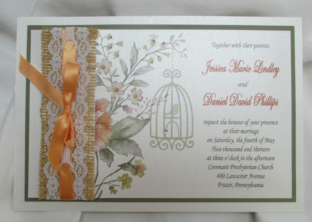 Burlap, Lace & Ribbon Wedding Invitation