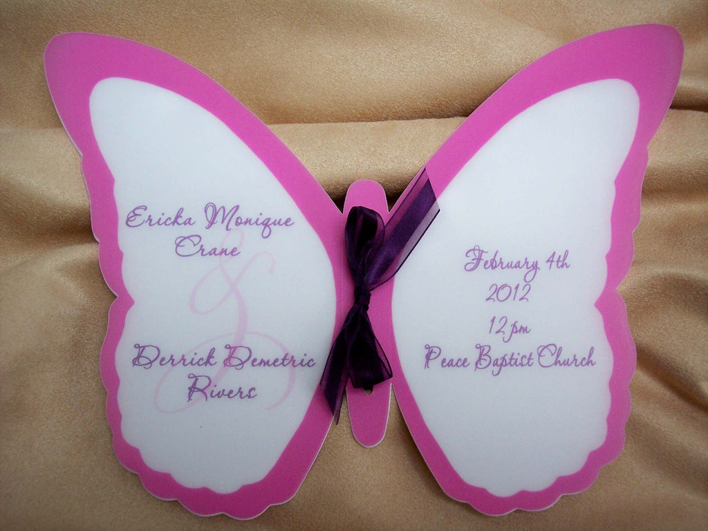 Custom Butterfly Shaped Wedding Program