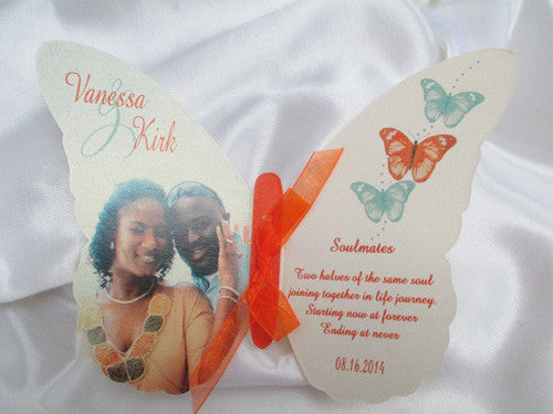 Custom Cut Butterfly Wedding Invitation