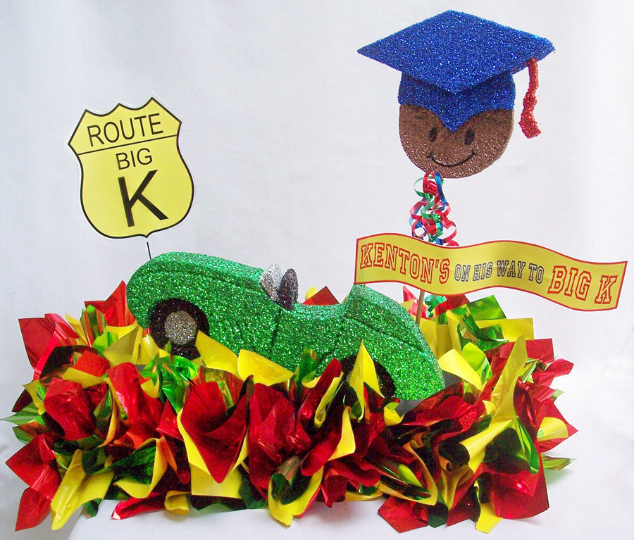 Pre-kindergarten graduation centerpiece with car