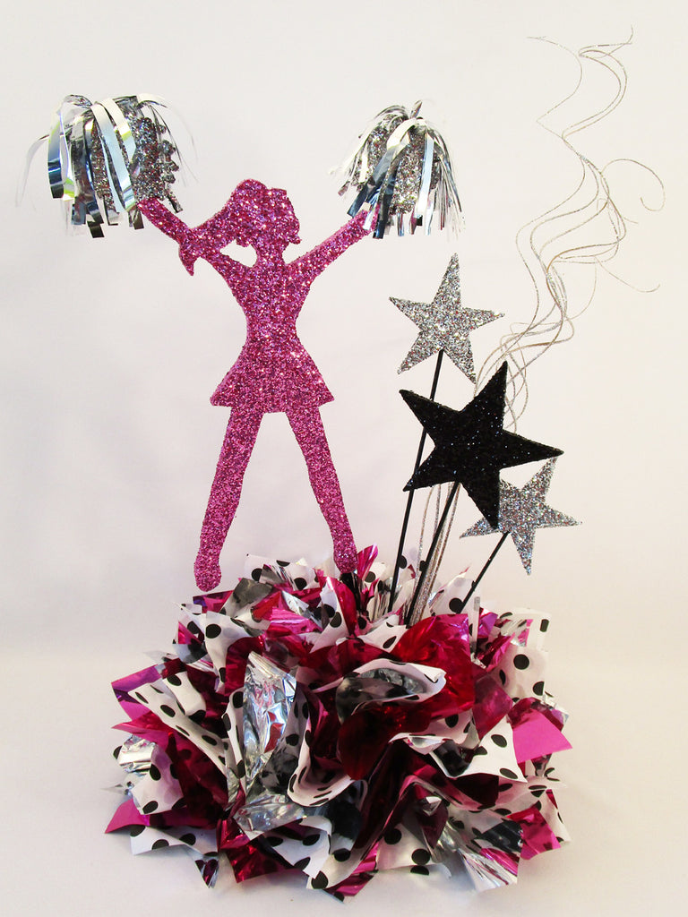 Cheerleader Centerpiece with Black and White Polka Dots