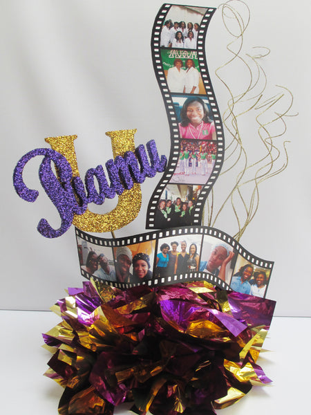 Graduation Centerpieces with Filmstrips & Custom Styrofoam Cutouts