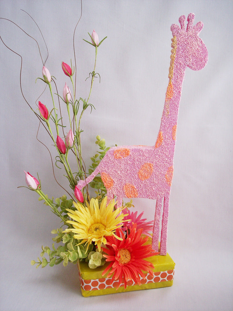 Giraffe baby shower centerpiece with silk daisies