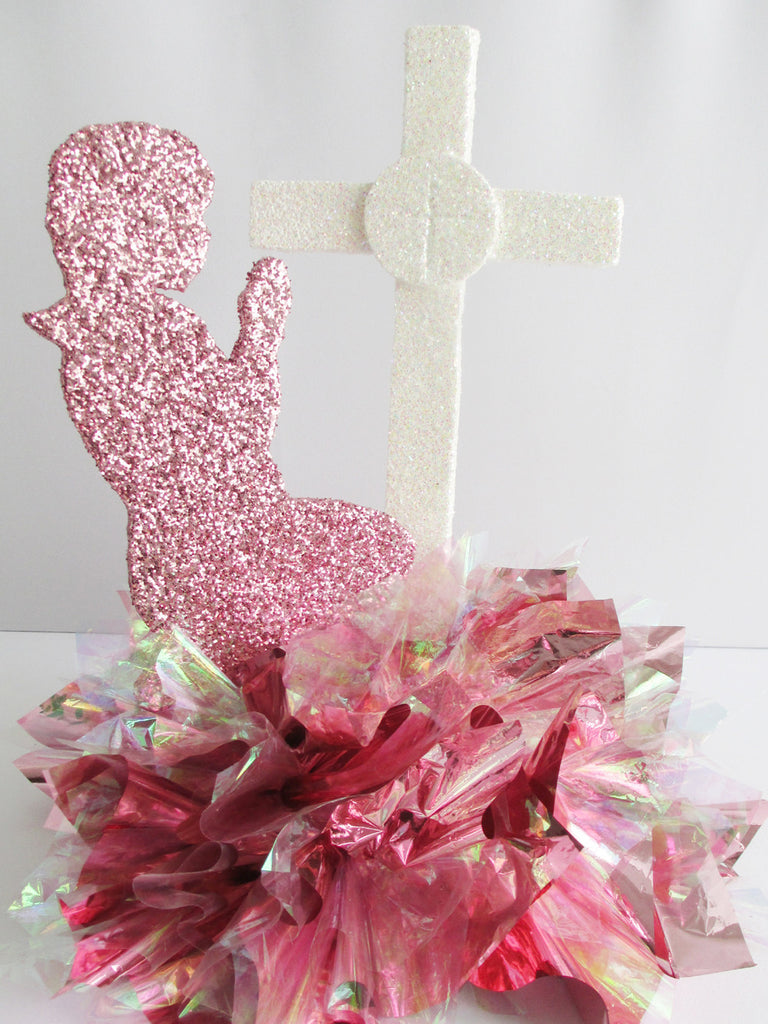 Girl or Boy Praying Centerpiece with Cross