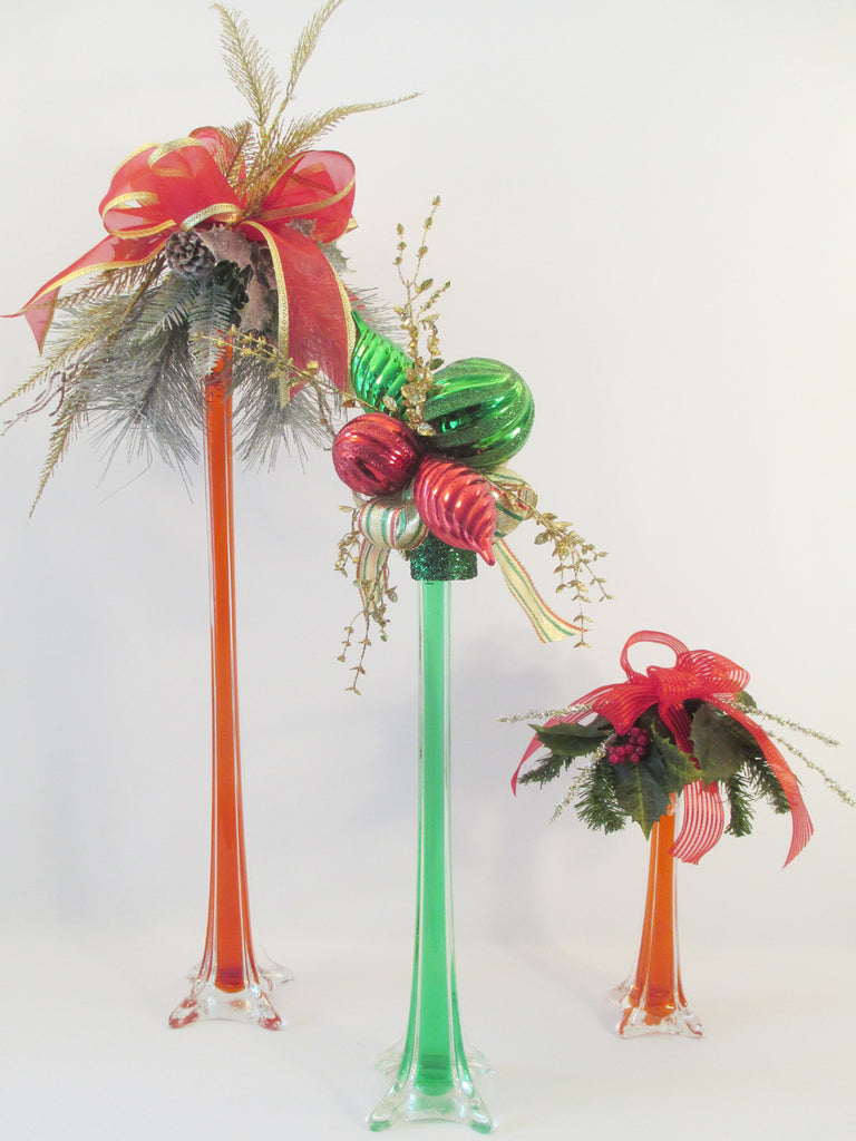 Re-purpose Holiday Centerpieces & old glass vases