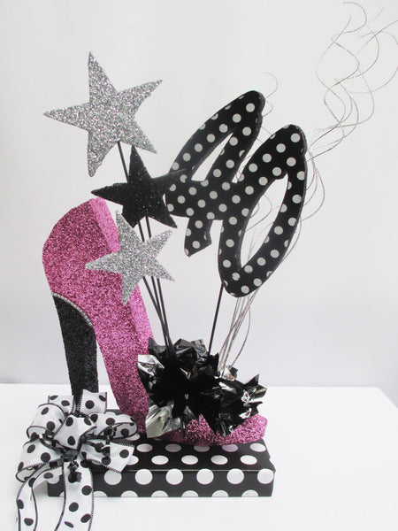 Black & White Polka Dot 40th Centerpiece