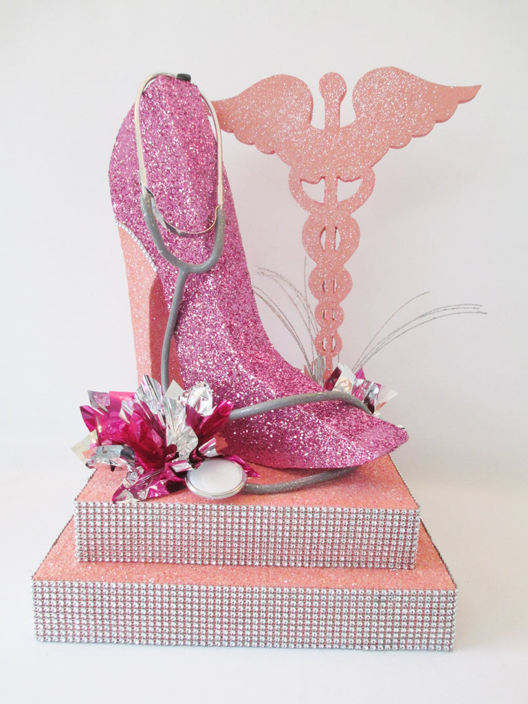 Bridal Shower Centerpiece with Caduceus & High Heeled Shoe