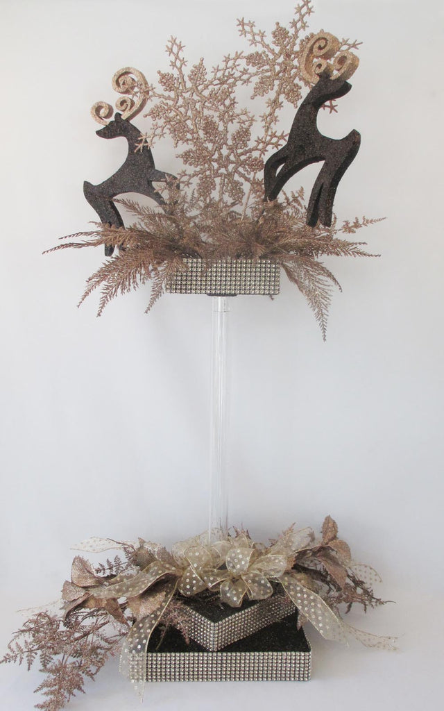Champagne and Black Holiday Reindeer & Snowflake Centerpiece