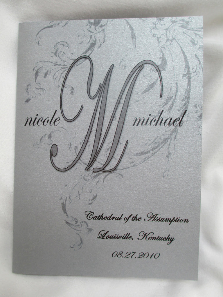 Metallic Silver Wedding Booklet Program