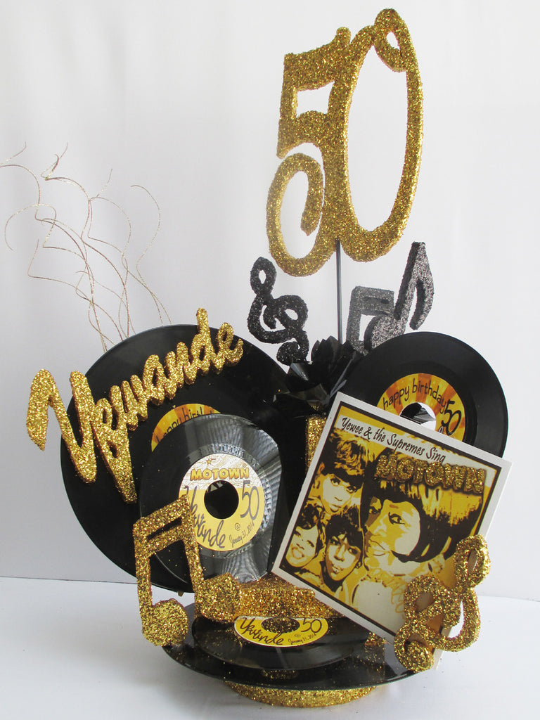 Black and Gold Motown Themed 50th Birthday Centerpieces