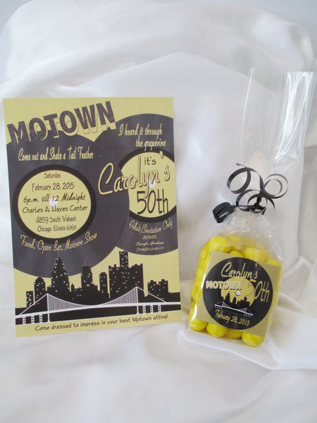 50th Motown Birthday Invite and Centerpiece
