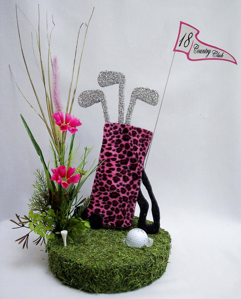 Pink Leopard Golf Bag Table Centerpiece