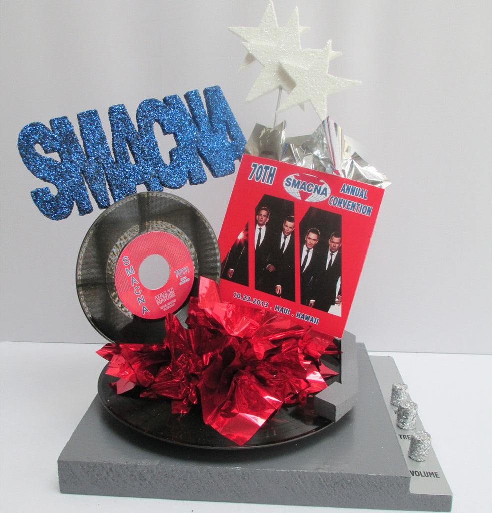 Motown themed centerpiece with faux record player