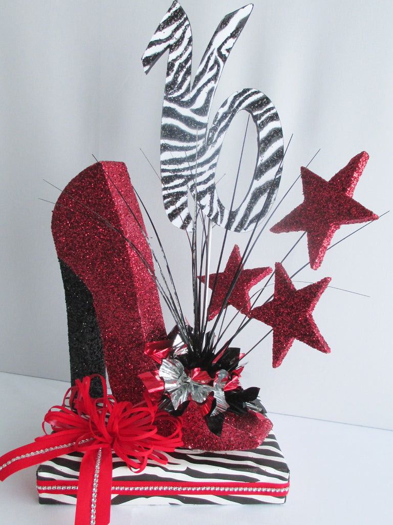 High heeled shoe, sweet 16th centerpiece