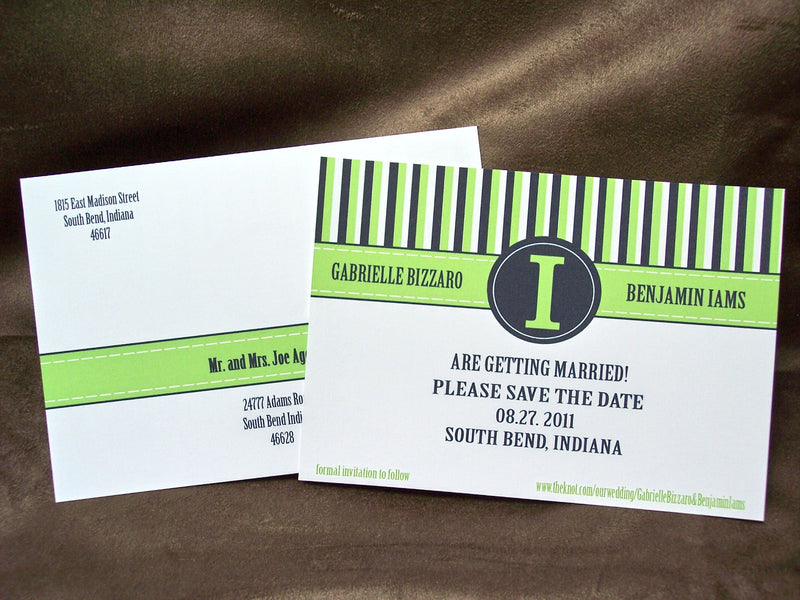 Contemporary Lime Green & Navy Blue Pocket Wedding Invite