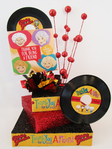 """Thank You for being a Friend"" themed party centerpieces"