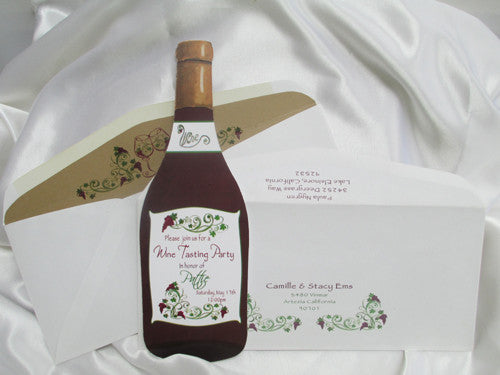 Wine Bottle Cutout Shower Invite