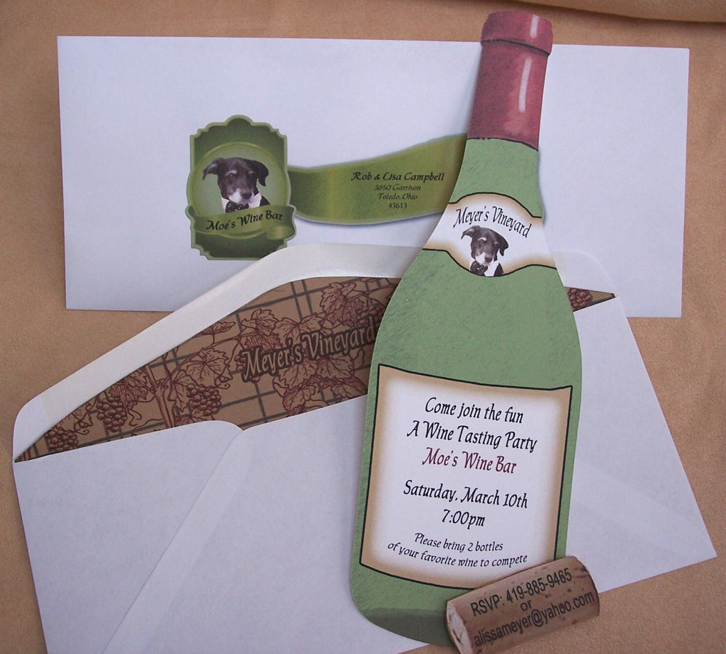 Wine tasting invite- wine bottle cutout