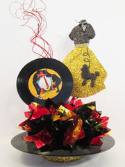50's dress and record themed centerpiece - Designs by Ginny