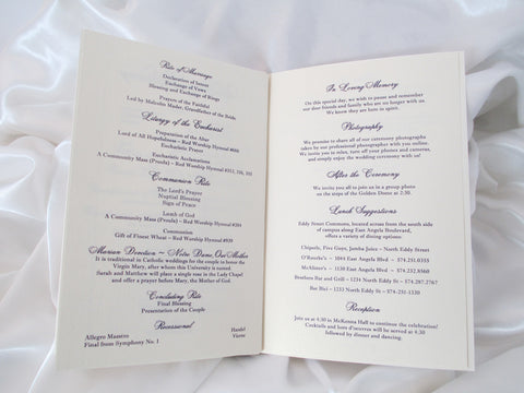 booklet style wedding program basilica and holy spirit chapel st