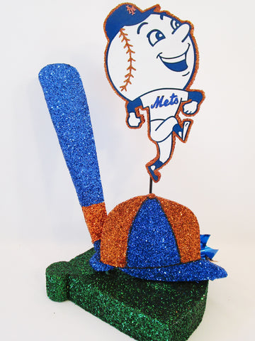 NY Mets baseball themed centerpiece - Designs by Ginny