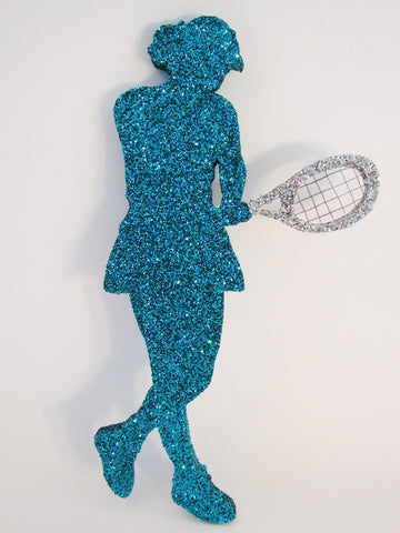 Female tennis player cutout for centerpieces